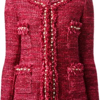 Charlott embellished trim tweed jacket