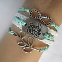 Combined Bracelet, Antiqued Silver Infinity Bracelet, Turtle, Tree Branch Leaf, Braid, Mint Green Rope, Personalized Bridesmaid Jewelry