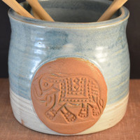 Handmade Ceramic Kitchen Utensil Jar or Canister with Elephant - Ivory and Antique Blue