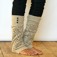 The LouLou - Natural: Open-work Leg warmers with Rubbed Bronze Metal Buttons - Legwarmers (item no. 9-14)