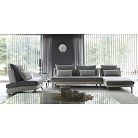 Luxury Gray Palms Fabric Sectional Sofa