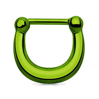 Green Polished All Surgical Steel Smooth Basic Septum Clicker 16 GA