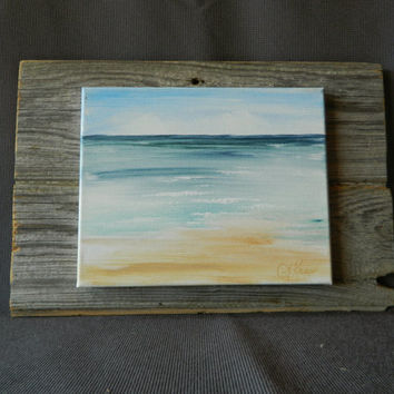 Hand painted seascape on canvas, Beach, Cottage, camping, Wall art, Distressed, barnwood, Reclaimed Wood Pallet Art, Shabby Chic
