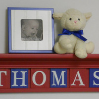 """Personalized Children Nursery Decor 30"""" Shelf - 8 Wooden Wall Letters Red and Blue - THOMAS TRAIN"""