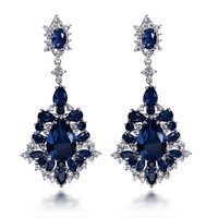 New Earrings for women big Drop Earring rhodium plated with AAA CZ color stone wedding earring fashion jewelry Free shipment