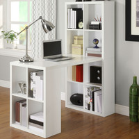 Home Office Laptop Computer Desk Writing Table with Storage in White Wood Finish