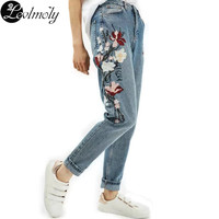 European Style Women's Jeans Fashion Embroidery Flower Long Pants Causal Mid Waist Denim Trousers Pantalones de Mjuer YC13048