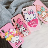 For iPhone X Melody phone Cases For iphone 8 8plus 7 7plus 6 6S 6plus Cute Hello Kitty Mirror Soft back case cover girl case