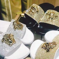 Versace fashion men's and women's luxury sandals shine slippers