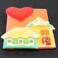 Red Heart House Brooch Lucinda House Pin Kitchy Houses Peach, Orange, Green & Red Resin Designs By Lucinda Yates Vintage 1990s Collectible