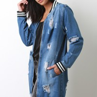 Distressed Long Line Zip-Up Denim Jacket