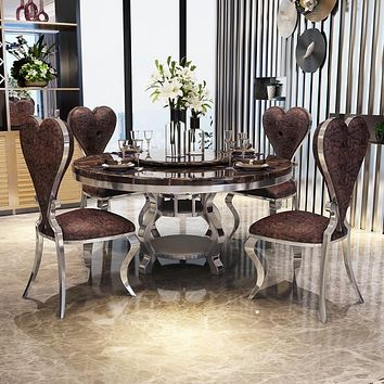 Round Modern Marble Stainless Steel Dining Room Set With 6 chairs