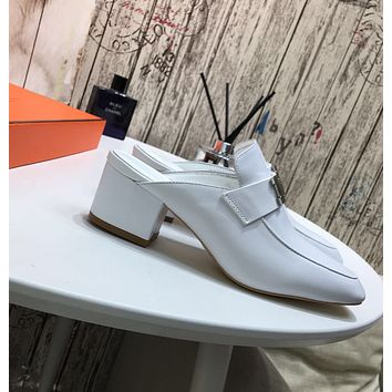 Hermes Women's Leather Muller Shoes