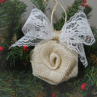Ready to Ship! Set of 2 Burlap Rose Christmas Ornaments handmade of ivory burlap, white lace and twine. Ships priority mail in 24 hours!