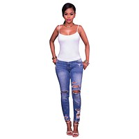 Cut Out Rough Holes Solid Color Long Skinny Jeans