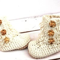 Crochet Ankle Boots, Baby Girl Booties, Baby Ugg Boots