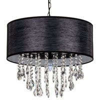 Large 5 Light Crystal Plug-In Chandelier with Cylinder Shade (Black)