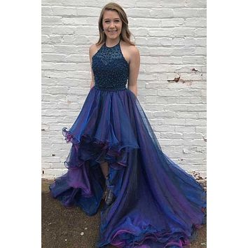 High Low Prom Dress, Prom Dresses, Evening Gown, Graduation School Party Dress, Winter Formal Dress, DT0146