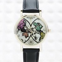 Globe Face Watch with Leather Strap in Black - Urban Outfitters