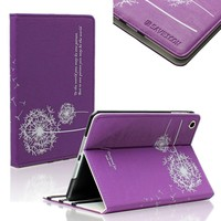 SAVEICON (TM) Dandelion Folio PU Leather Stand Case Cover Skin for iPad Mini 7.9 Inch Wifi 3G 4G LTE with Stand and Sleep/Wake Function (Purple)