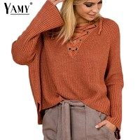 Lace up solid knitted Autumn Sweaters women Flare sleeve v-neck casual loose sweaters and pullovers knitting womens jumpers
