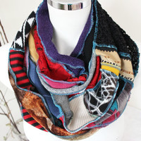 Hippie Unique Scarf, Extra Long Scarf, Handmade boho scarf, Blue black yellow red scarf, Rainbow scarf, Christmas gifts, Patchwork scarf