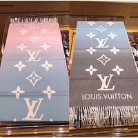 Inseva LV Louis Vuitton Stylish Gradient Color Cashmere Cape Tassel Scarf Scarves Shawl Accessories