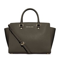 MICAHEL Michael Kors Selma Large Satchel Dark Olive Green