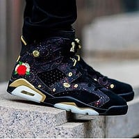 Bunchsun AIR JORDAN 6 Men Peony Fireworks Embroidery Casual Sport Basketball Shoes Sneakers Black