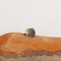 Vintage coin ring, silver and gold signet ring of a Byzantine copper coin, early nineties