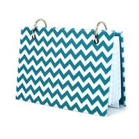 Chevron turquoise and white index card binder with tab divider set 421   artbysunfire - Paper/Books on ArtFire