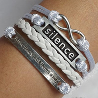 """Antique silver """"where there's a will there's a way"""" bracelet, unlimited karma & Silence bracelet, gift to send friends J-116"""