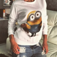 White Minion Bob Print Long Sleeve Casual Top