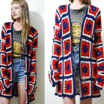 CROCHET Granny Square CARDIGAN Wool Navy Blue Red Long Sleeve Knit Knitted Jacket Caot 70s Vintage Bohemian boho Hippie Gypsy xs s