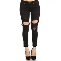 Black Denim Ankle Skinny Jeans