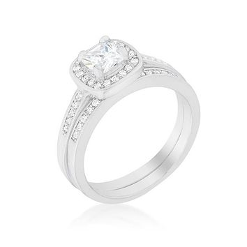 Grable Cushion Cut Engagement and Wedding Ring Set | 2ct