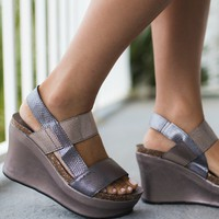 Take Me There Snakeskin Pewter Wedges