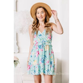 Tropical Shores Sleeveless Floral Mini Dress
