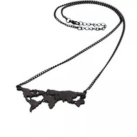 FREE SHIPPING World map necklace - black