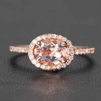 Oval Morganite Engagement Ring Pave Diamond Halo 14K Rose Gold 6x8mm E-W direction