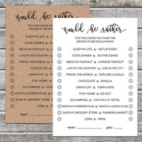 Would He Rather | Would He Rather Bridal Shower Games | Bridal Shower Game | Wedding Shower Games | Groom Game | Instant Download (aa3)