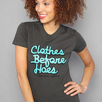 Product - The Clothes Before Hoes Tee in Turqoise/Charcoal by Dangerously Beautiful · Storenvy
