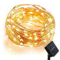 100 LED Solar Starry String Lights 33 Feet Copper Ambiance Lighting for Christmas Party