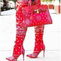 Women Bandanna Print Fashion Over The Knee High Heel Boots