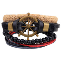 FUNIQUE Leather Bracelet Men Sea Navigation Anchor Bracelet for men Punk Rock Bead Wrap Bracelet friendship bracelets Set 3-4PCs