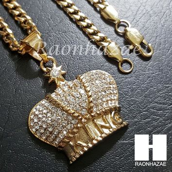 316L Stainless steel Gold King Crown w/ 5mm Cuban Chain SG08