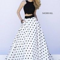 Sherri Hill 32215 Jewel Neck Lace Crop Top Polka Dot Skirt