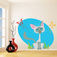 Nursery Vinyl Wall Kids Decal Cute Cat with Butterflies / Colourful Kitty Art Home Baby Sticker / Child Kids Room Decor + Free Decal Gift!