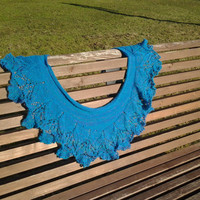Turquoise lace mohair shawl, hand knit, warm and cozy