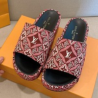 LV Louis Vuitton Woven Embroidered Letter Print Ladies Platform Slipper Sandals Shoes Red